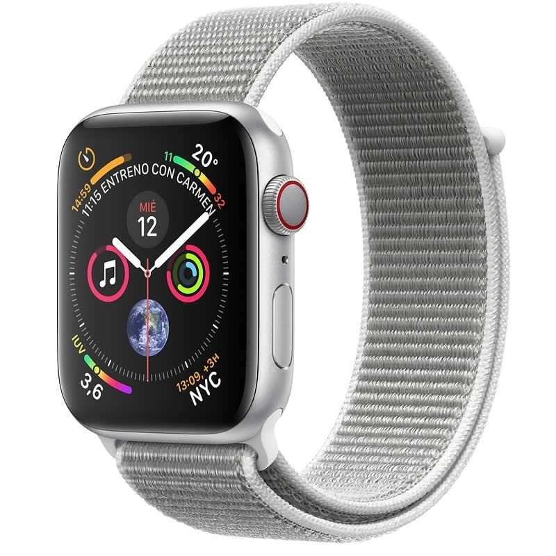 APPLE WATCH SERIES 4 GPS  CELLULAR 40mm CAJA ALUMINIO PLATA CON CORREA DEPORTIVA LOOP NACAR - MTVC2T -