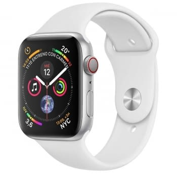 APPLE WATCH SERIES 4 GPS CELLULAR 40mm CAJA ACERO INOXIDABLE PLATA CON CORREA DEPORTIVA BLANCA - MT