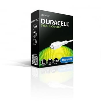 CABLE DURACELL USB MACHO A MICRO USB -1 METRO - BLANCO