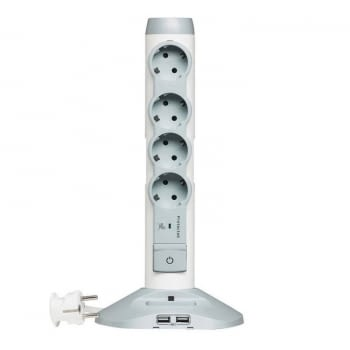 BASE MULTIPLE LEGRAND 694614 - 4*2P+T - 2*USB - PROTECCIÓN CONTRA SOBRETENSIONES - CABLE 1.5 METROS
