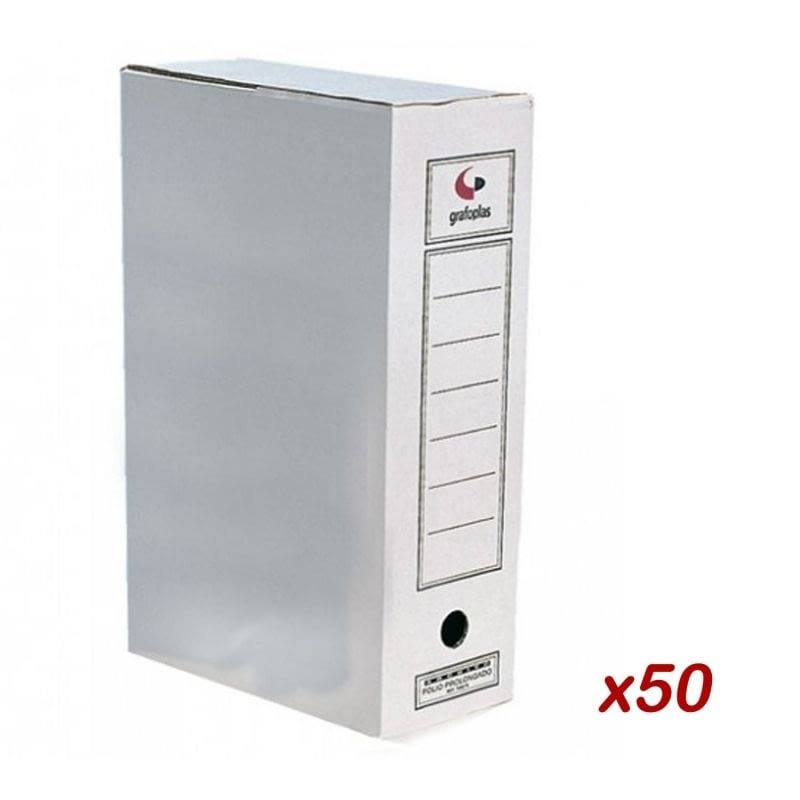 50 UDS ARCHIVADOR DEFINITIVO CARTON FOLIO PROLONGADO - GRAFOPLAS -