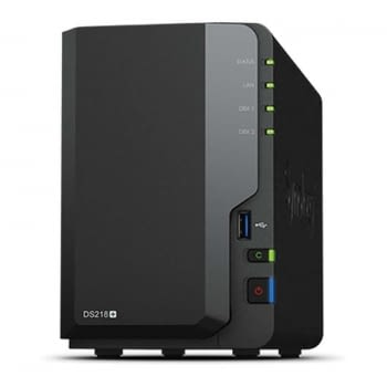 NAS SYNOLOGY DISKSTATION DS218+ - 2 BAHÍAS - CPU DC 2.0GHZ - 2GB DDR3L - LAN GIGABIT - USB - USB 3.0 - ESATA - TRANSCODIFICACION VÍDEO UHD 4K