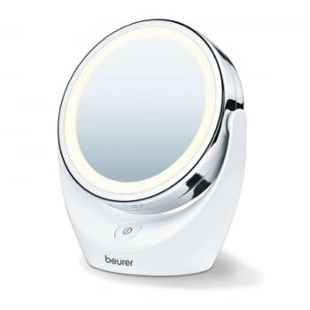 ESPEJO DE MAQUILLAJE CON LUZ BEURER BS-49 - Ø11CM - 2 SUPERFICIES (NORMAL/5 AUMENTOS) - 12 LEDS - COLOR BLANCO MATE