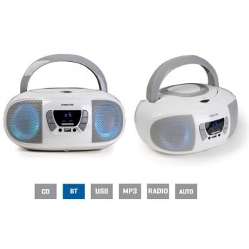 RADIO CD FONESTAR BOOM-GO-B BLANCO - 4W RMS - BLUETOOTH - FM - USB/MP3 - AUX IN - SALIDA AURICULARES - EFECTOS LUMINOSOS