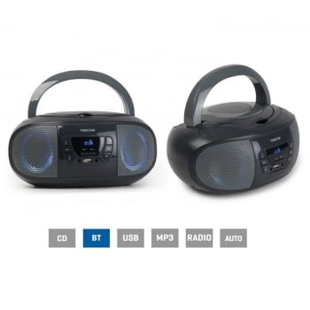 RADIO CD FONESTAR BOOM-GO-G GRIS - 4W RMS - BLUETOOTH - FM - USB/MP3 - AUX IN - SALIDA AURICULARES - EFECTOS LUMINOSOS