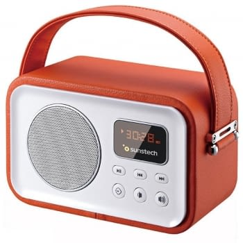 RADIO PORTÁTIL BLUETOOTH SUNSTECH RPBT450 RED - 2.5W RMS - FM - BT4.0 - PANTALLA LED - LECTOR TARJETAS TF/USB/AUX-IN