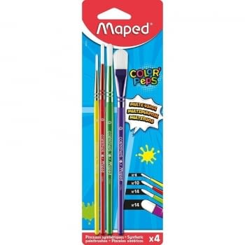 SET 4 PINCELES MAPED COLOR'PEPS 867810 - 3 REDONDOS / 1 PLANO - MANGOS MADERA DE COLORES