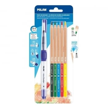 BLISTER PINCEL RECARGABLE MILÁN WATER BRUSH - DIÁMETRO 4MM - DEPOSITO RECARGABLE 8ML + 5 LÁPICES ACUARELABLES MINA GRUESA 3.5MM