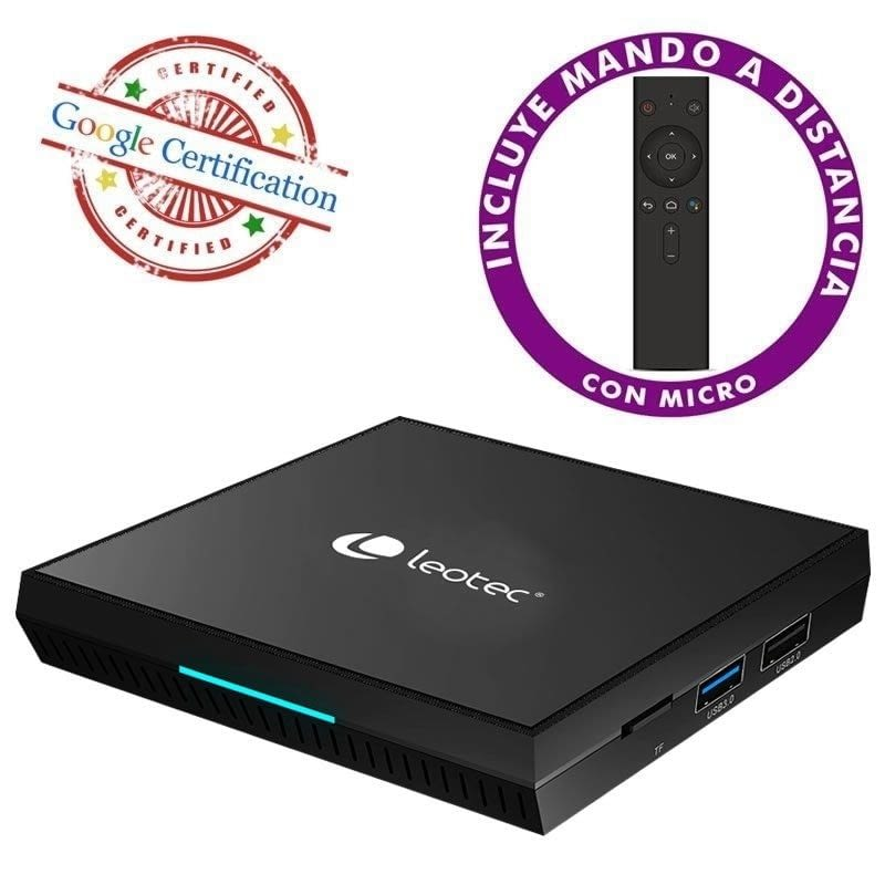 ANDROID TV BOX LEOTEC GC216+ - 4K - QC CORTEX-A53 - 16GB - 2GB RAM - HDMI - LAN - WIFI - BT4.0 - ANDROID 9 - MANDO A DISTANCIA - CERTIFICACIÓN GOOGLE -