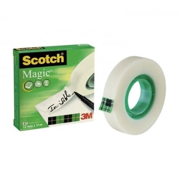 CINTA ADHESIVA INVISIBLE 3M -  33M x 12MM - SCOTCH MAGIC