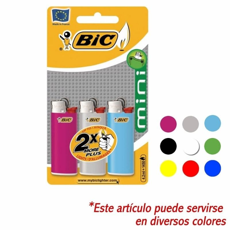 BLISTER DE 3 MECHEROS CLASSIC MINI - COLORES VARIADOS - BIC -