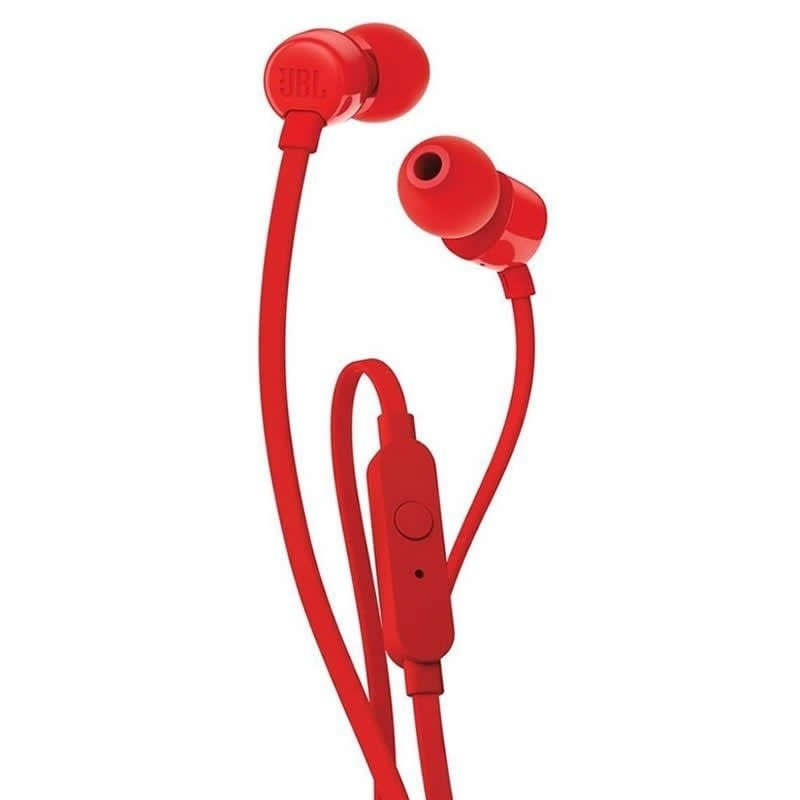 AURICULARES INTRAUDITIVOS JBL T110 RED - PURE BASS - DRIVERS 9MM - CABLE PLANO - FUNC. MANOS LIBRES -