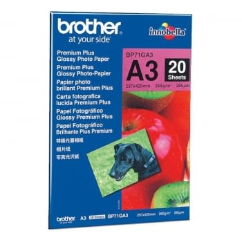 PAPEL FOTOGRÁFICO GLOSSY PREMIUM BROTHER BP71GA3 - A3 - PACK 20 HOJAS - 260G/M2