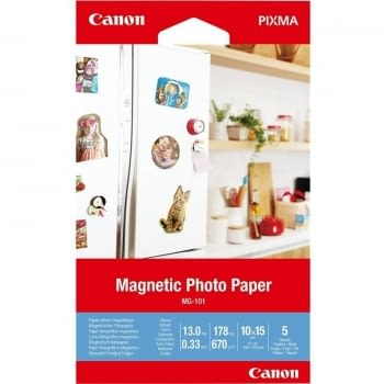 PAPEL FOTOGRÁFICO MAGNÉTICO CANON MG-101 - 5 HOJAS - 10*15CM - 670GR/M2 - GLOSSY