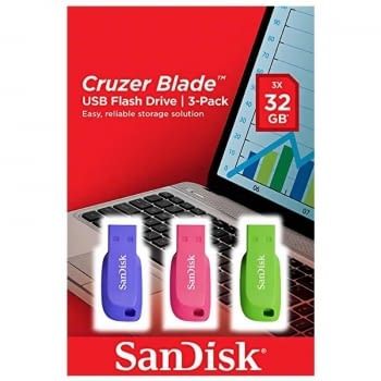 PACK 3 PENDRIVES SANDISK CRUZER BLADE 32GB - USB 2.0 - COLORES AZUL / ROSA / VERDE