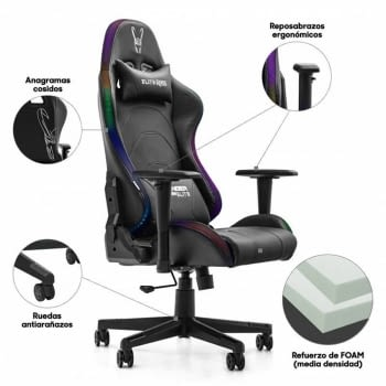 SILLA GAMER WOXTER STINGER STATION ELITE V2.0 - PISTON CLASE 3 - RESPALDO INCLINABLE - 5 RUEDAS - LUCES LED - APP PARA CAMBIAR COLOR Y MODO - 150KG