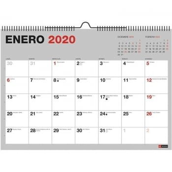 CALENDARIO DE PARED 2020 MIQUEL RIUS 28036 BASICS MR GRIS - DIN A4 - MES VISTA - ENCUADERNACIÓN ESPIRAL - 296*210MM