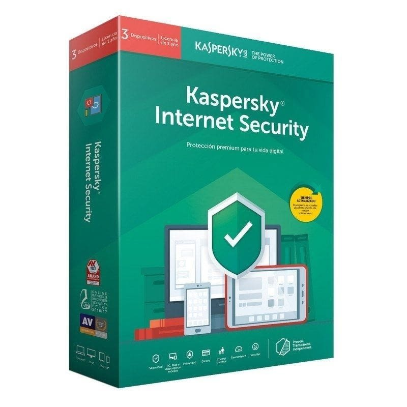 ANTIVIRUS KASPERSKY INTERNET SECURITY 2020 - 3 DISPOSITIVOS - 1 AÑO - NO CD -