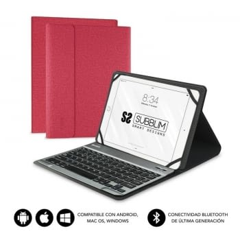 FUNDA CON TECLADO SUBBLIM KEYTAB PRO BLUETOOTH RED - PARA TABLET DE 10.1'/25.65CM - BATERÍA 420MAH -COMPATIBLE WINDOWS/ANDROID/IOS/MACOS