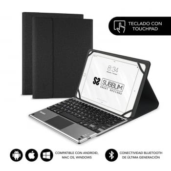 FUNDA CON TECLADO SUBBLIM KEYTAB PRO BLUETOOTH TOUCHPAD BLACK - PARA TABLET 10.1'/25.6CM - BATERÍA 420MAH - COMP. WINDOWS/ANDROID/IOS/MACOS