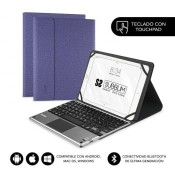 FUNDA CON TECLADO SUBBLIM KEYTAB PRO BLUETOOTH TOUCHPAD PURPLE - PARA TABLET 10.1'/25.6CM - BATERÍA 420MAH - COMP. WINDOWS/ANDROID/IOS/MACOS