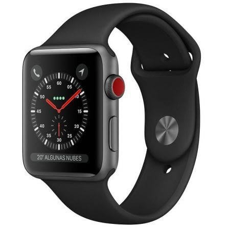APPLE WATCH SERIES 3 GPS 42mm CAJA ALUMINIO GRIS ESPACIAL CON CORREA DEPORTIVA NEGRA -