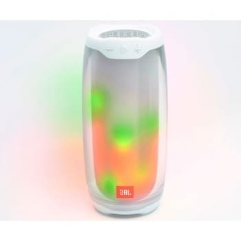 ALTAVOZ BLUETOOTH JBL PULSE 4 WHITE - 20W - WATERPROOF IPX7 - BT 4.2 - SONIDO Y LUZ 360º - BAT. 7260MAH - PARTYBOOST - 4