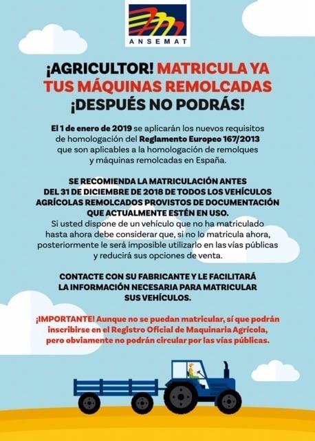 AVISO IMPORTANTE - Matriculación máquinas arrastradas antes del 31.12.18