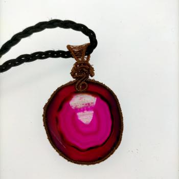 Penjoll rodó d'àgata rosa - 1