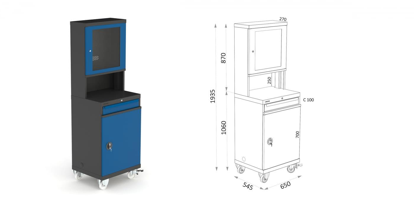Armari PC amb porta i kit elèctric -