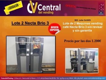 ¡¡LIQUIDACIÓN!! LOTE 2 MAQUINAS VENDING CAFE EN GRANO NECTA BRIO 3 (PROFESIONAL DEL VENDING)