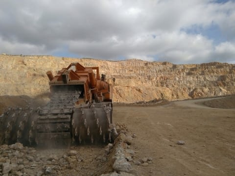 Surface miner coupled to trencher. - 3