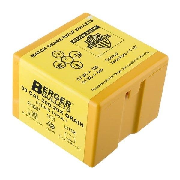 "BERGER BULLETS HYBRID TARGET 30 CALIBER (0.308"") 200.20X  HYBRID BOAT TAIL BULLETS -"