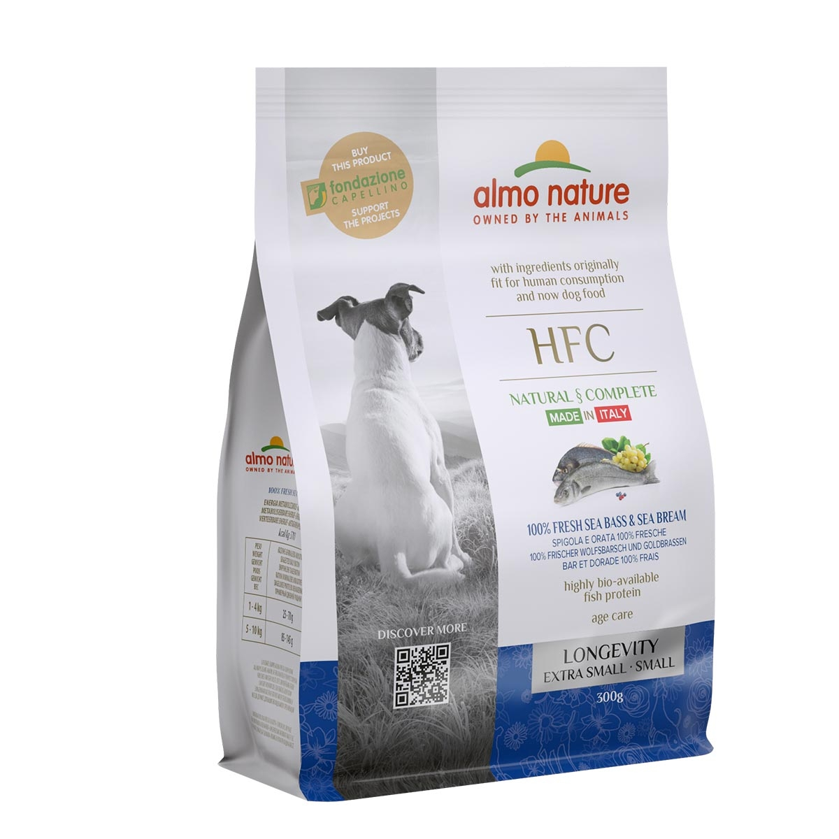 DOG DRY HFC ADULT SMALL LONGEVITY LUBINA Y BESUGO 300G