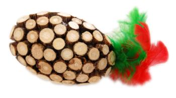 CHRISTMAS WOOD TOY OVALADA PLUMAS - 1