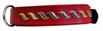 COLLAR LEATHER WAVES ROJO