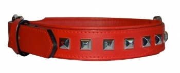 COLLAR LEATHER NAILS ROJO
