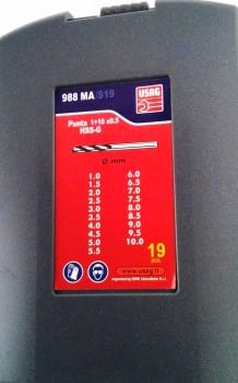 JUEGO 19 BROCAS RECTIFICADAS HSS 1-10MM USAG - 1
