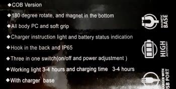 PORTATIL RECARGABLE LED COB CON BASE - 4