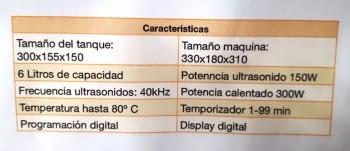 MAQUINA DE LIMPIEZA POR ULTRASONIDOS 6 LTS - 8