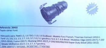 TAPON CARTER DE PLASTICO FORD - 1