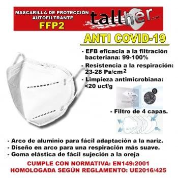 MASCARILLA DE PROTECCION AUTOFILTRANTE FFP2 (4 CAPAS)