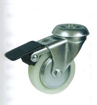 Rueda de polipropileno 42 mm, con freno, tornillo pasador AFO