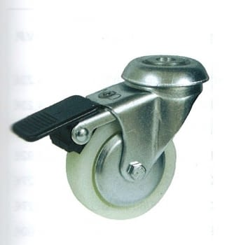 Rueda de polipropileno 80 mm, con freno, tornillo pasador AFO