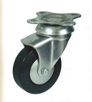 Rueda de goma 42 mm con platina base de sujeción AFO
