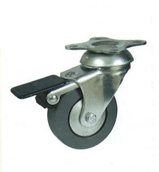 Rueda de goma 60 mm, con freno y platina base de sujeción AFO