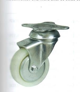 Rueda de polipropileno 25 mm con platina base de sujeción AFO