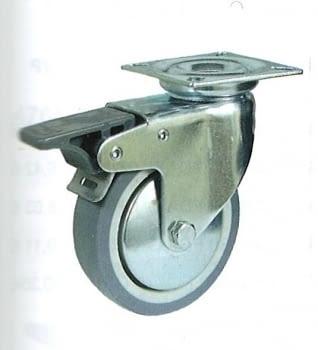 Rueda de goma gris termoplástica 50 mm, con freno y platina AFO