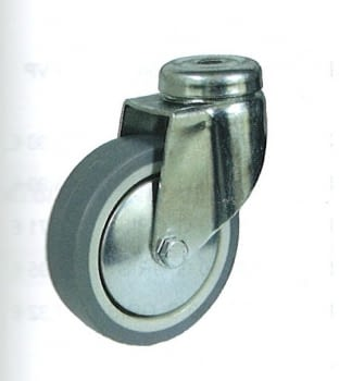 Rueda de goma gris termoplástica 80 mm con tornillo pasante AFO