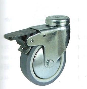 Rueda de goma gris termoplástica 50 mm con freno y tornillo pasante AFO